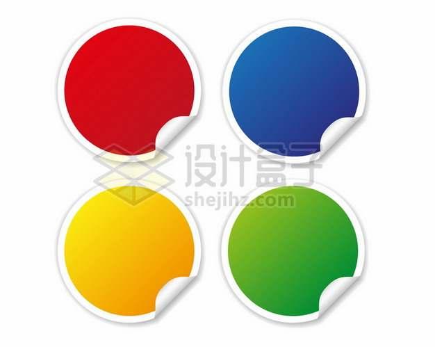 掀开一角的4款彩色圆形标签纸842385png图片素材
