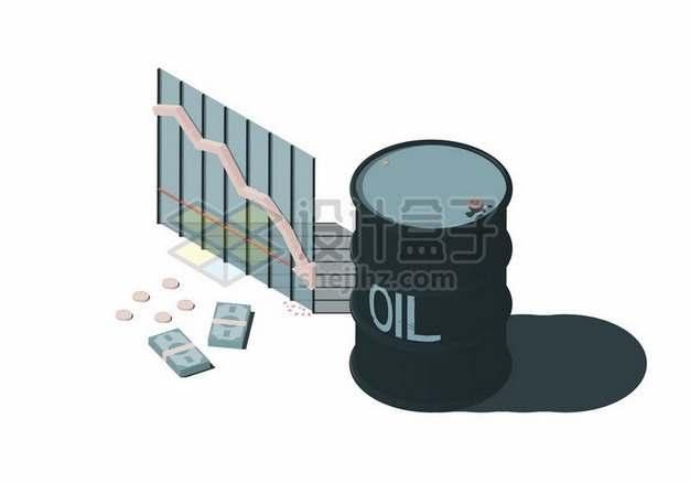 3D风格石油桶和下滑曲线石油经济454042png矢量图片素材
