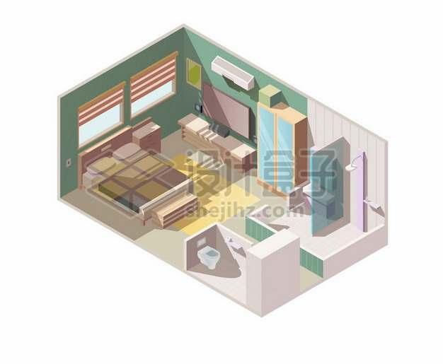 2.5D风格卡通卧室内部装修展示485399png矢量图片素材