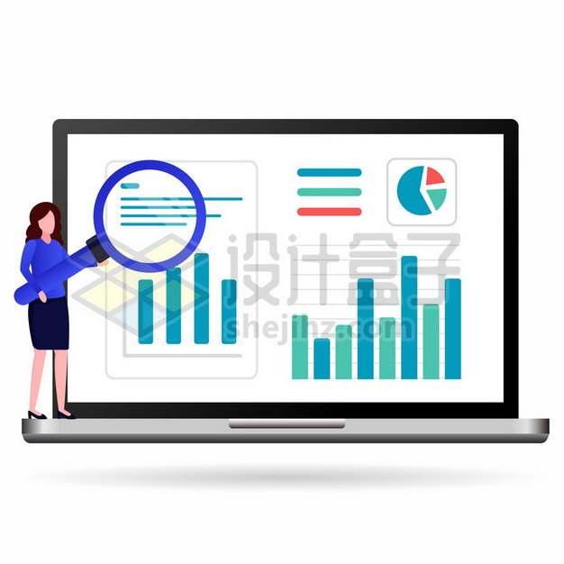 笔记本电脑上的商务女士拿着放大镜在检查数据742171png矢量图片素材
