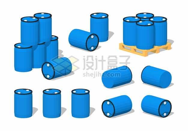 蓝色塑料化工桶木制托盘上的塑料桶png图片素材