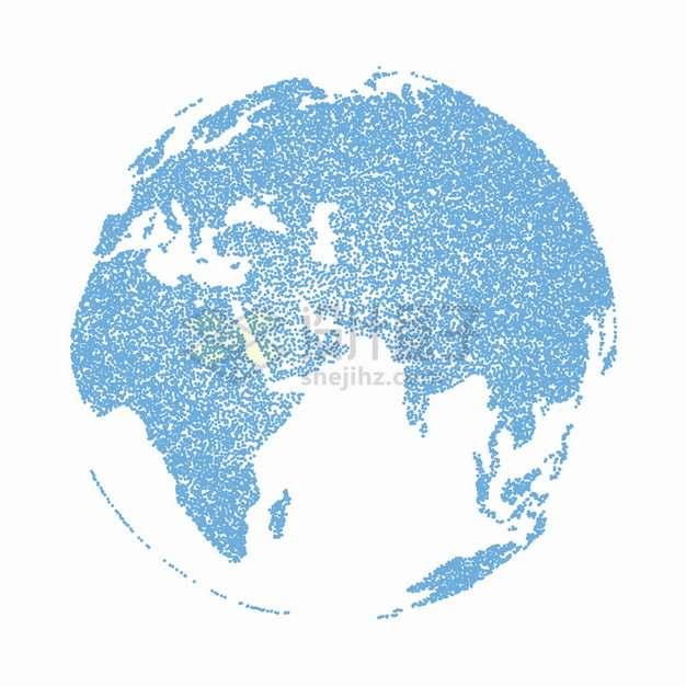 蓝色圆点组成的地球模型世界地图png图片素材