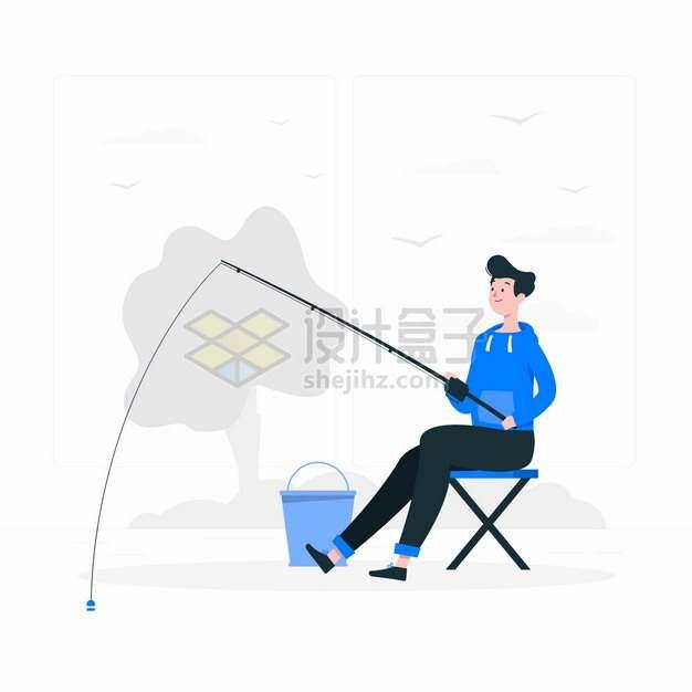 蓝衣男子坐在河边钓鱼扁平插画png图片素材