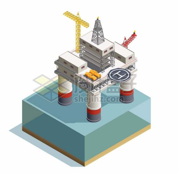 2.5D风格海上钻井平台石油天然气开采png图片素材