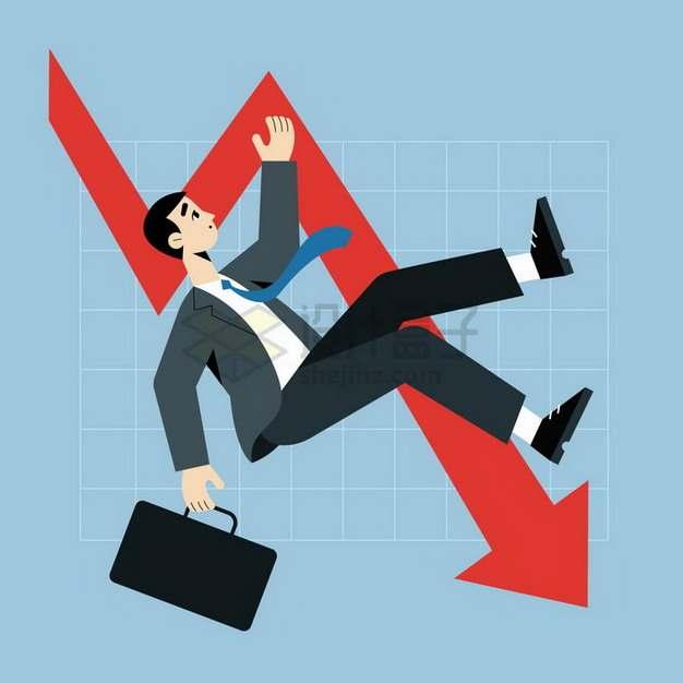 下降的红色箭头和跌落的卡通商务人士象征了经济危机金融危机png图片免抠矢量素材