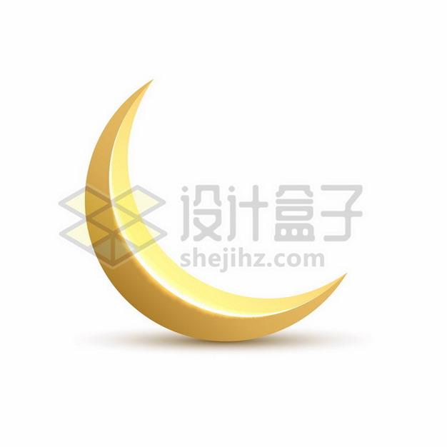 金色3D立体弯弯的月亮月牙619728png矢量图片素材 线条形状-第1张