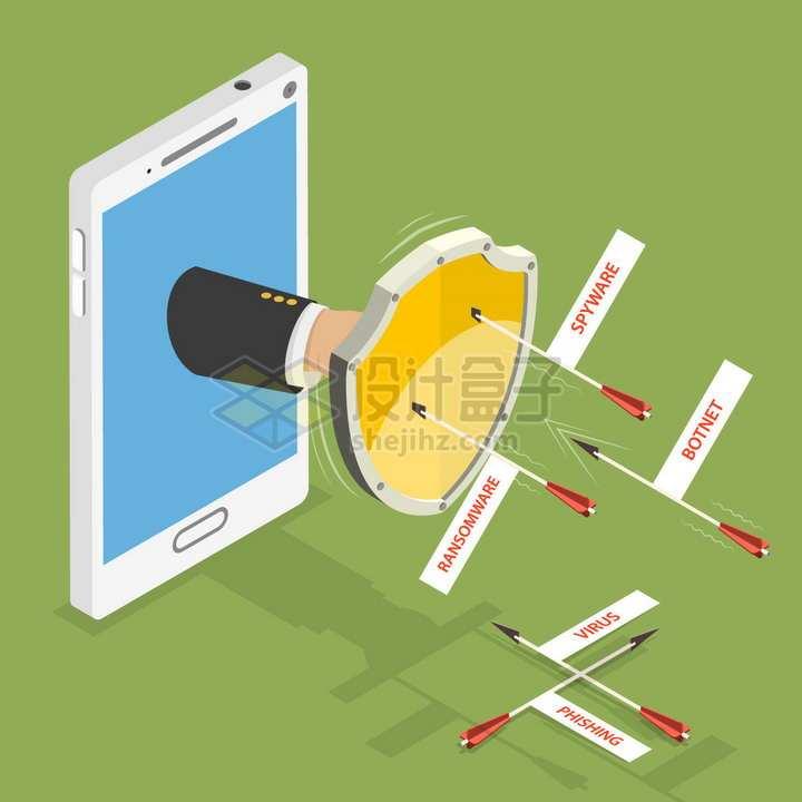 手机中伸出一只手拿着盾牌挡住了箭象征了手机安全防护png图片免抠矢量素材