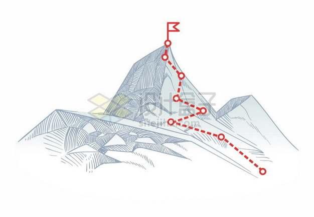 铅笔素描高山和红色登山线路图575492png图片素材