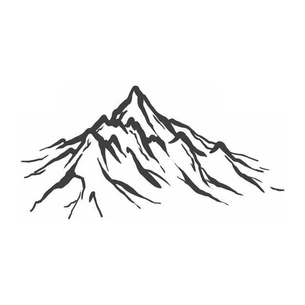 黑色线条手绘高山大山山脉png图片免抠素材485155
