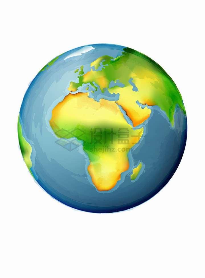 世界地球日的彩绘地球以非洲大陆为中心png图片免抠矢量素材