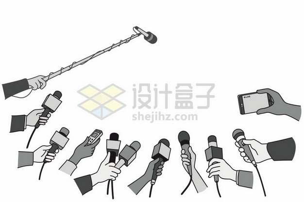 被记者采访话筒团团围住手绘插画480565png图片素材
