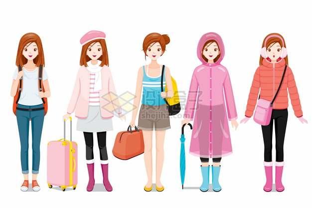 身穿T恤背心雨衣羽绒服休闲服等各种服装的卡通女孩995526png图片素材