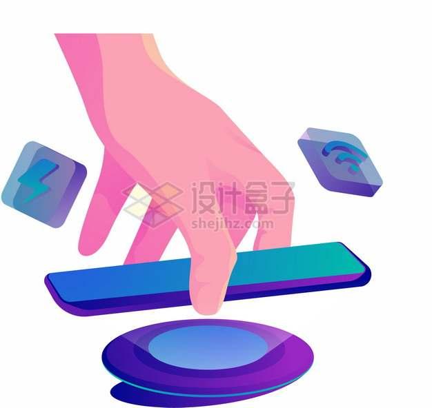 一只手拿着手机在无线充电器上充电114606png图片素材