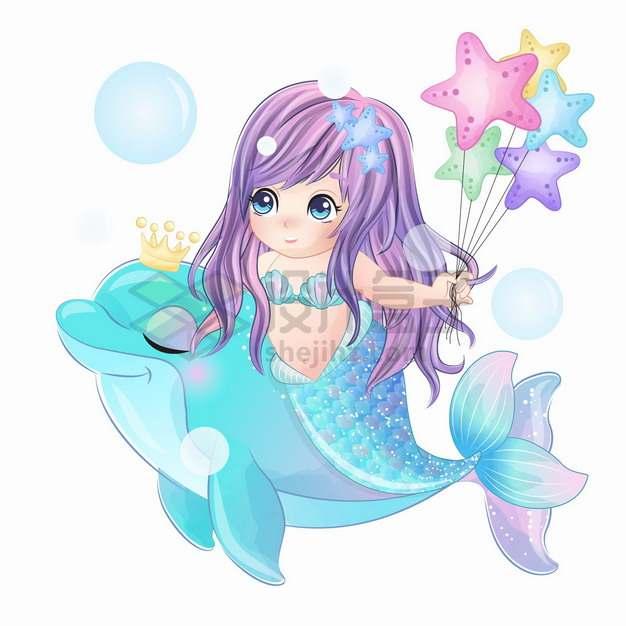 可爱卡通美人鱼骑者海豚拿着星星气球手绘插画png图片素材