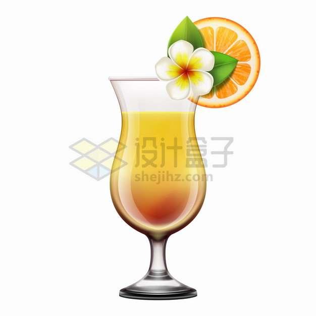 一杯橙汁和玻璃杯上的白花与橙子png图片素材