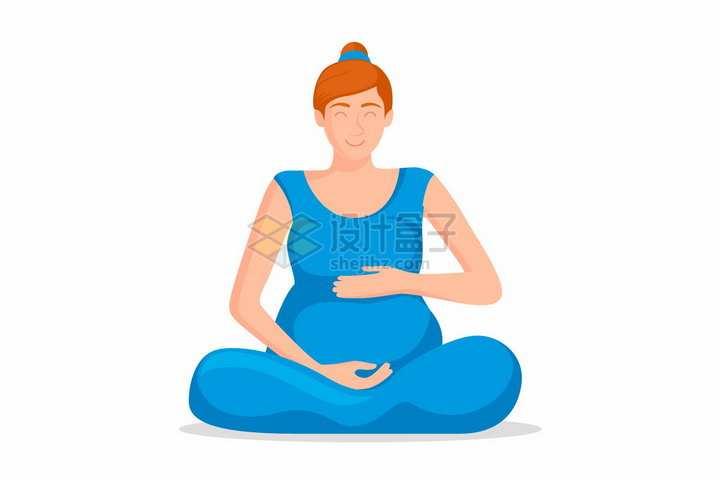 盘坐在地上的孕妇怀孕的年轻妈妈png图片免抠矢量素材