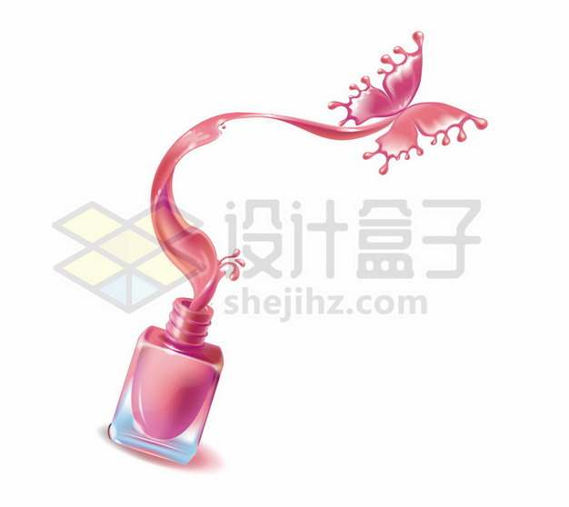 玫红色香水瓶子和化作蝴蝶的香水液体676507png图片素材