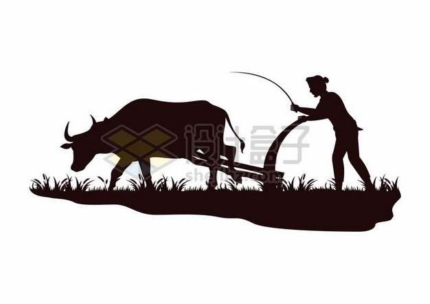农民赶着耕牛拉犁耕田剪影835022png图片素材
