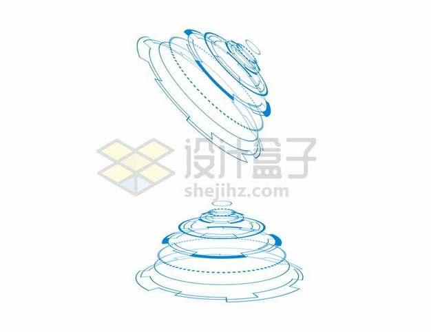 科幻风格蓝色线条上下对称圆环装饰图案638635png图片素材
