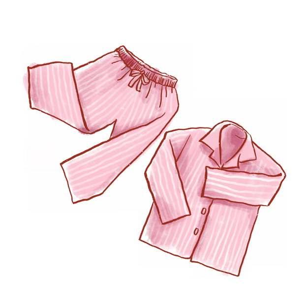 粉色条纹装的睡衣睡裤彩绘插画955997png图片素材