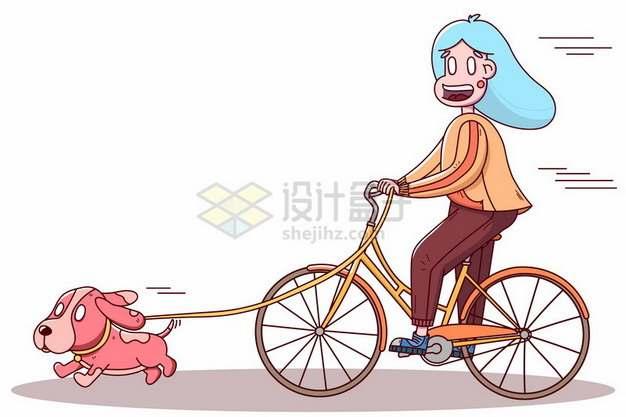 卡通女孩骑自行车遛狗829937png图片素材