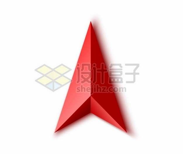 3D立体红色导航标志方向箭头符号760809png矢量图片素材
