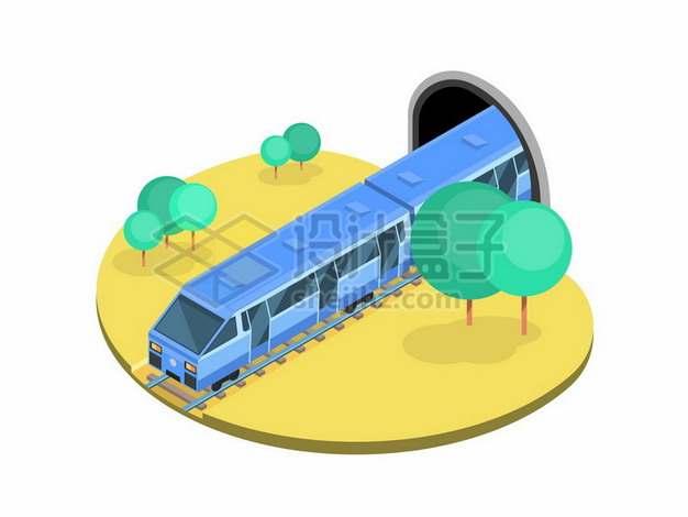 2.5D风格从隧道中出来的高铁地铁列车475867png图片素材