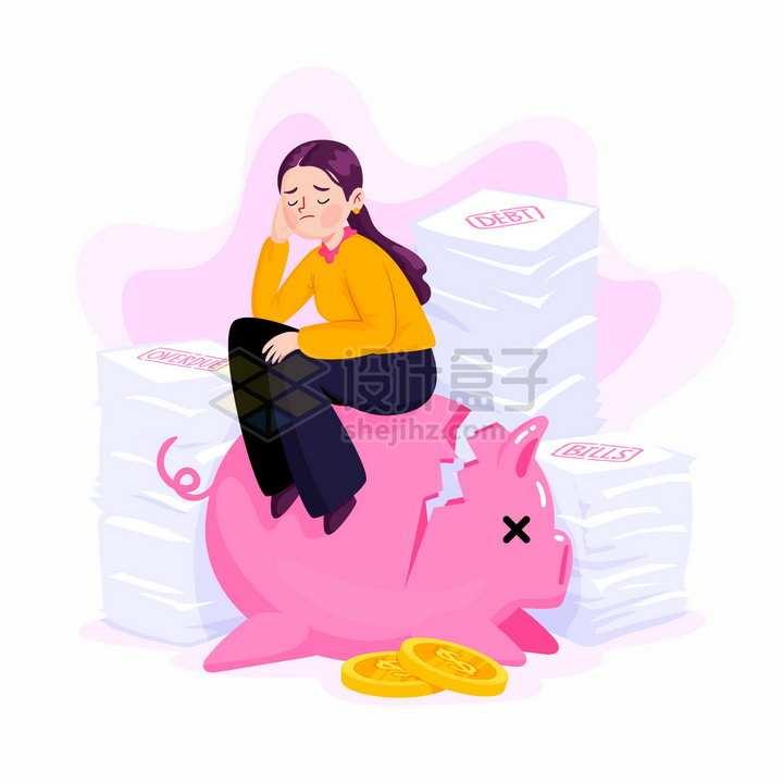 坐在破碎的储蓄罐上烦恼的女人债务问题经济危机金融危机失业png图片免抠矢量素材