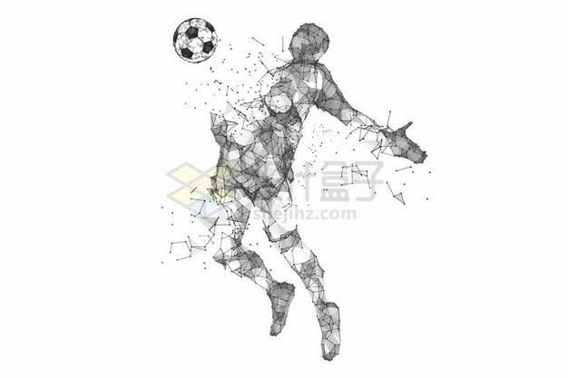 多边形组成破碎的抽象足球运动员301303png图片素材