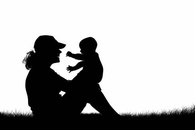 妈妈抱着宝宝坐在草地上剪影png图片素材999485