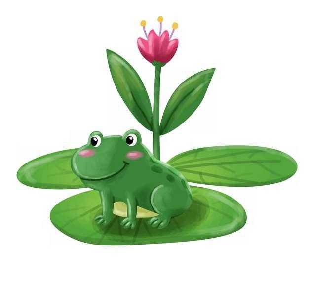 莲叶上的卡通青蛙彩绘插画910663png图片素材