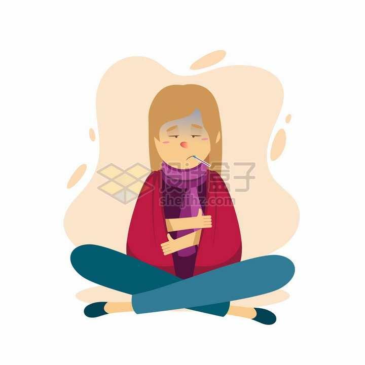 感冒了裹紧被子的卡通女孩png图片免抠矢量素材