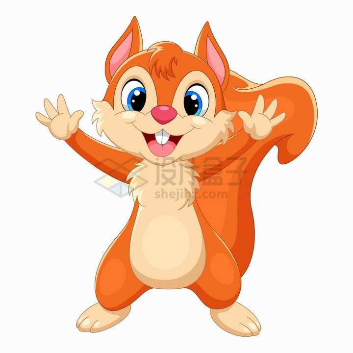 开心的松鼠可爱卡通动物png图片免抠矢量素材