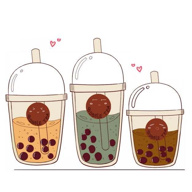 三杯卡通珍珠奶茶644699png图片素材