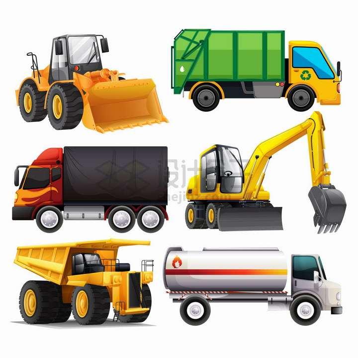 推土机垃圾车卡车挖掘机重型卡车洒水车等工程机械png图片免抠矢量素材