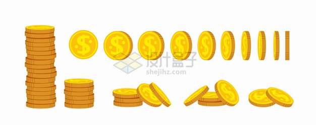 堆放整齐和各种不同角度的金币硬币png图片素材
