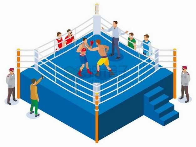 2.5D风格擂台上的拳击比赛png图片免抠矢量素材