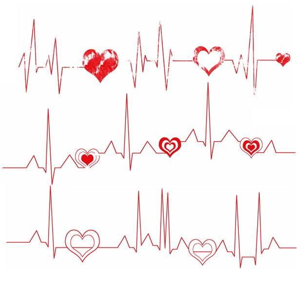 红色心电图和红心装饰304913png图片素材