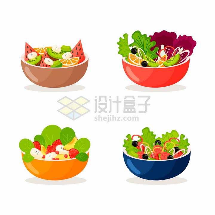 4款蔬菜色拉水果拼盘美味健康美食png图片免抠矢量素材