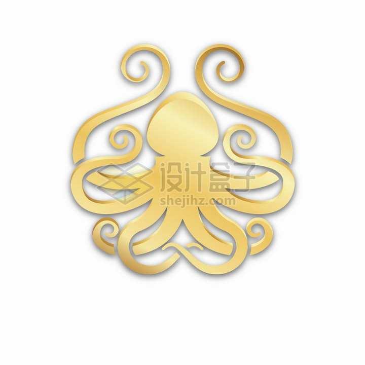 金色章鱼标志logo图案png图片免抠矢量素材