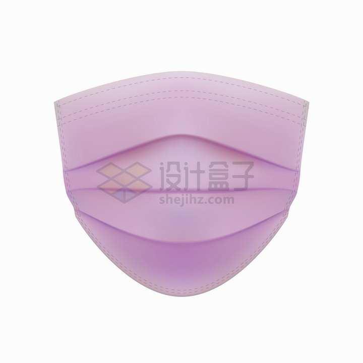 紫色的一次性医用口罩正面png图片免抠矢量素材
