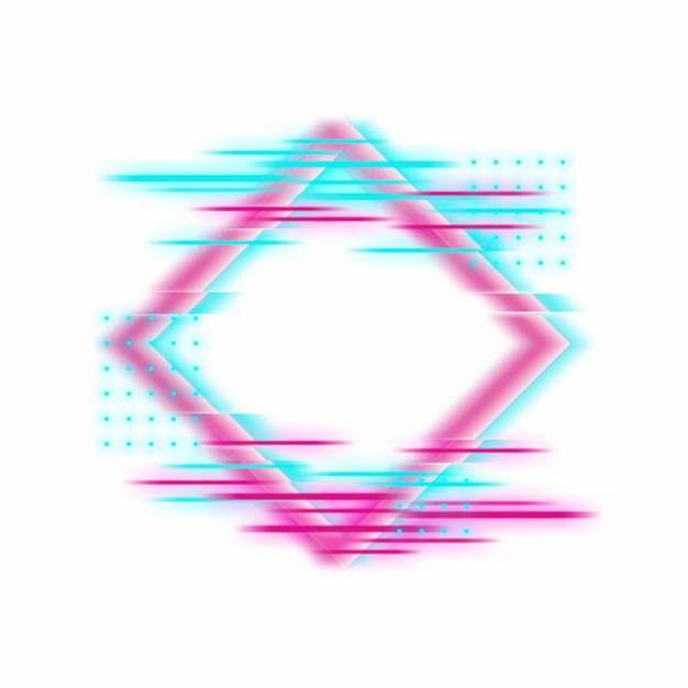 抖音故障风彩色边框文本框标题框信息框993825png图片素材