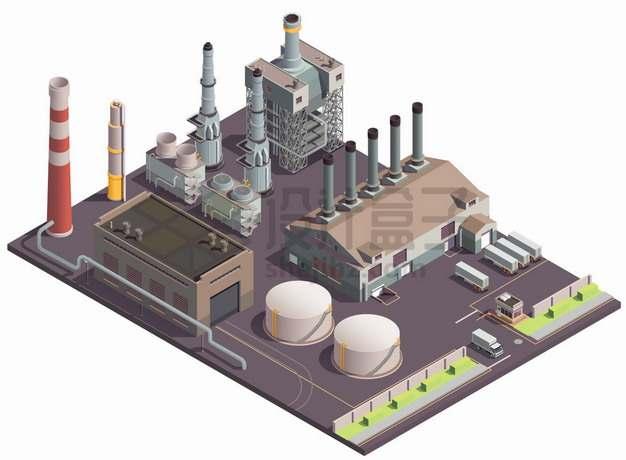 2.5D风格工厂厂房和各种烟囱生产车间建筑png图片素材