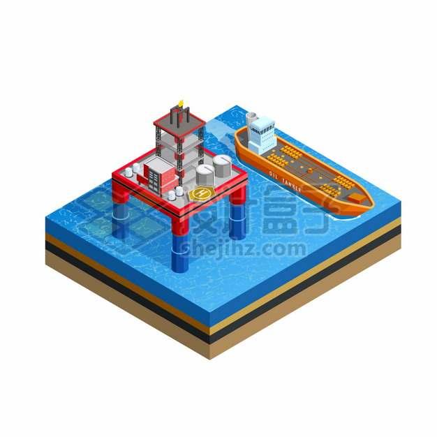 2.5D风格红色海上钻井平台和运输石油的油轮png图片素材