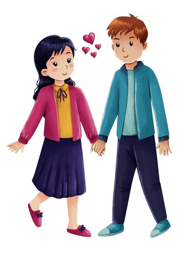 手牵手的卡通男孩女孩情侣彩绘插画522641png图片素材