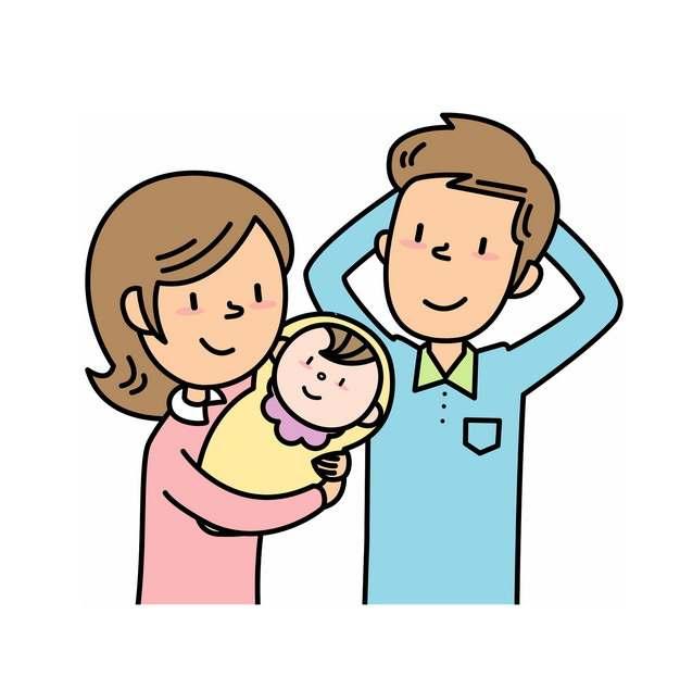 卡通妈妈和爸爸抱着宝宝png图片素材407902