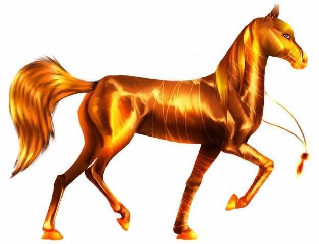 金光闪闪的骏马875726png图片素材