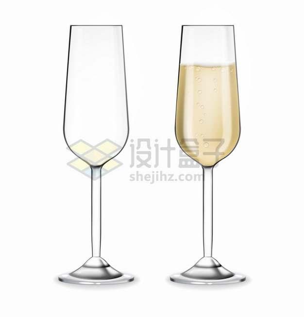 一杯香槟酒和一个空的高脚酒杯png图片素材
