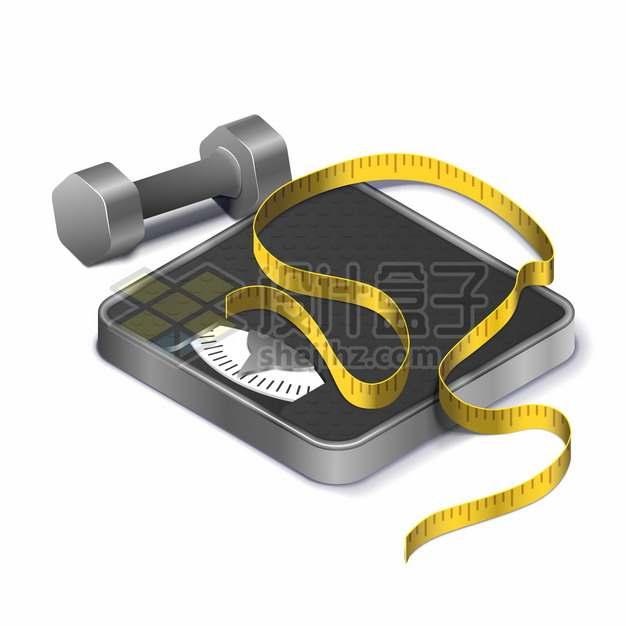 黑色体重秤上的黄色皮尺和哑铃减肥png图片素材