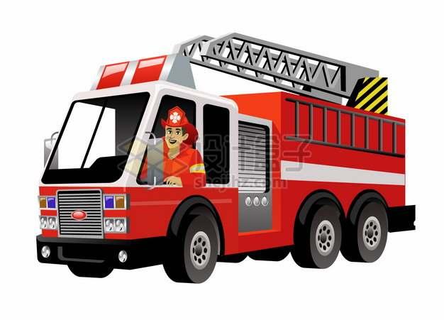 卡通消防员驾驶着一辆云梯消防车png图片素材